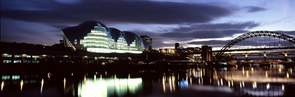 The Sage Gateshead at night with bridges credit Alex Telfer