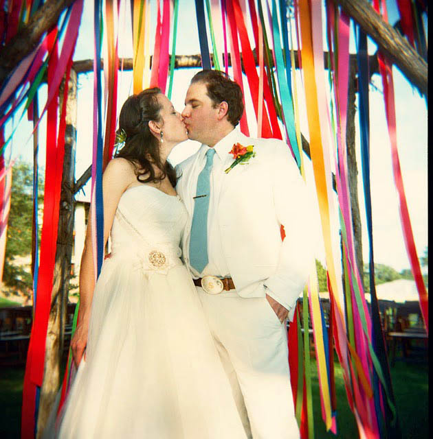 Ribbon Wedding Altar: Ribbons, Pom Poms & Papel Picado