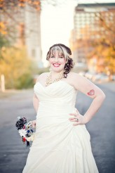 bride with tattoo on fall austin street