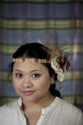 The bride had a DIY head piece as alternative to veil