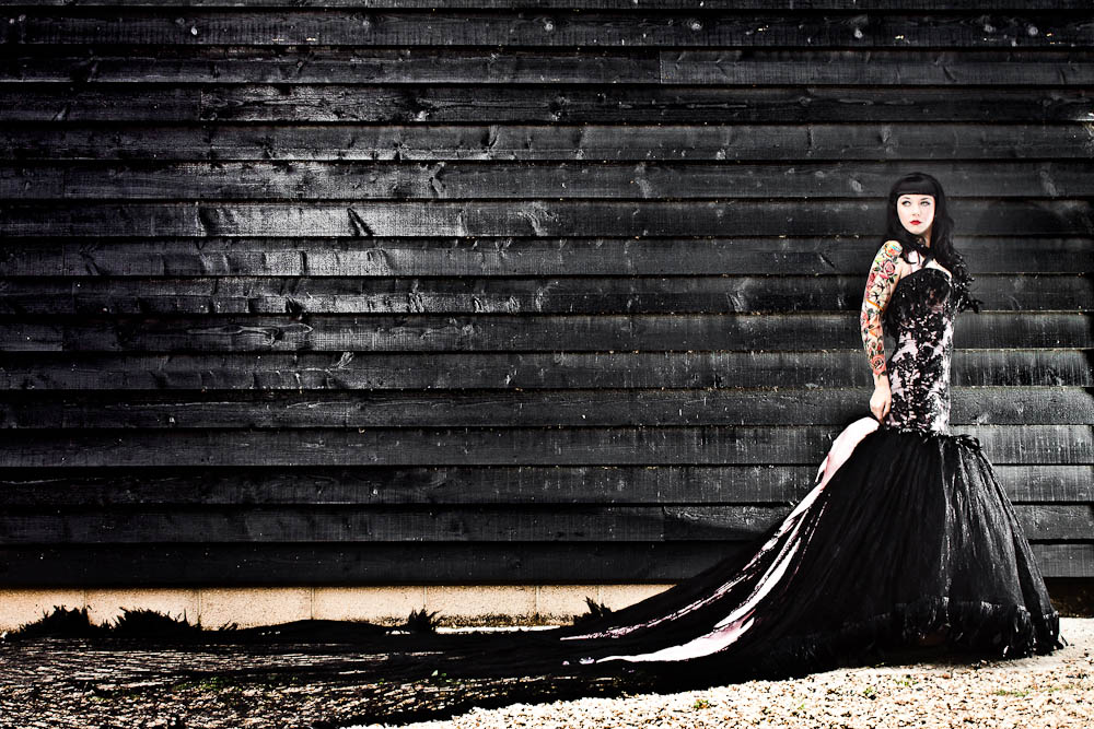 Black wedding dress a traditional church wedding amp a burlesque themed