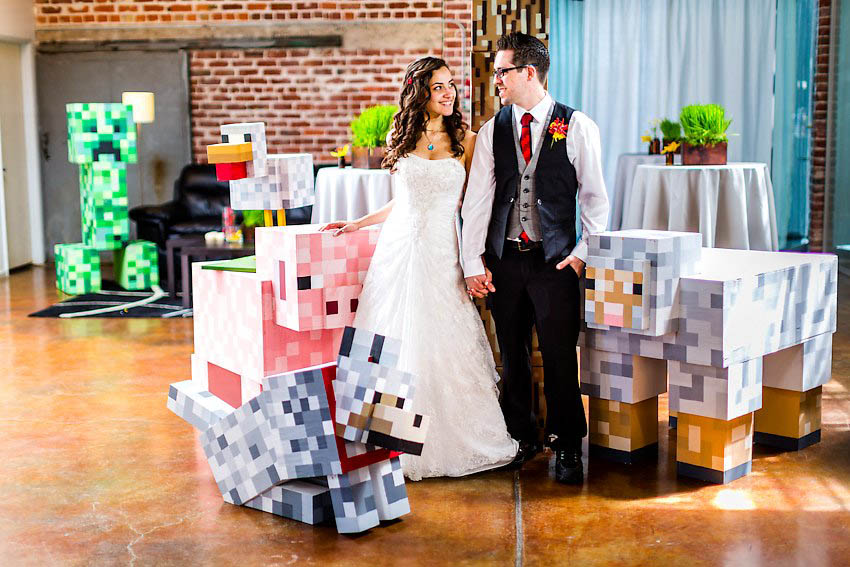 The minecraft wedding matt asia rock n roll bride for Doctor who themed wedding dresses