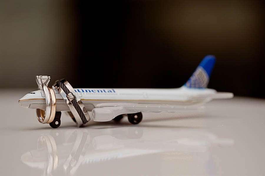 Modern Yellow Grey Airplane Wedding Env Photography