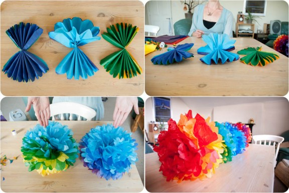 how to make cheer pom poms out of crepe paper