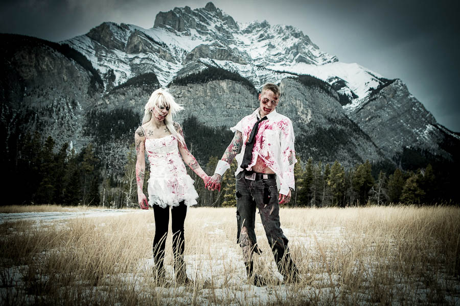 Zombies In Love Engagement Shoot Dannielle Andrew Rock N Roll Bride