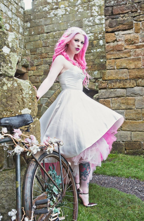 Colourful Alternative Bridal Shoot In A Castle 183 Rock N