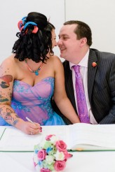 Rock and Roll Bride Candy Coloured tattooed rocker bride Tux and Tales Photography_3948