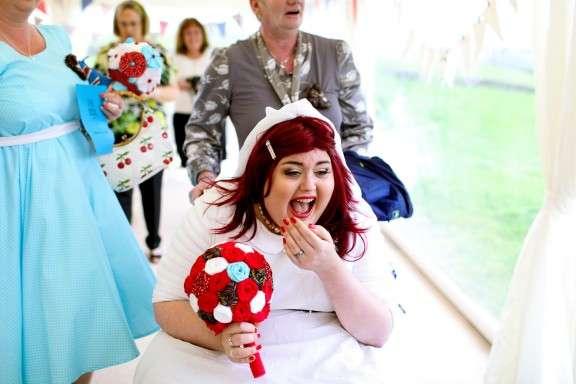retro british street party wedding elisa ricky rock n roll bride