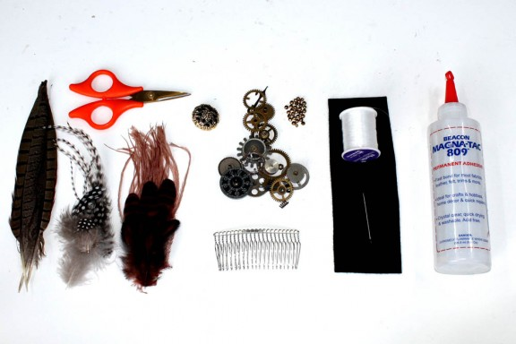 Head Full of Feathers Steampunk feather comb tutorial (1)