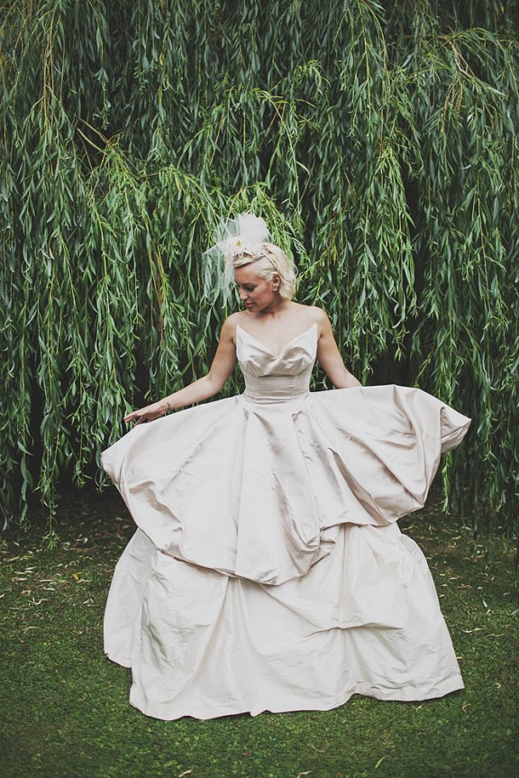 Vivienne Westwood Made To Order The Sueno Gown In Ivory Silk Moire