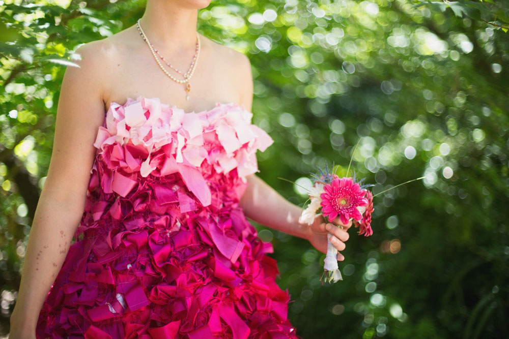 Golden gate park picnic wedding with a homemade pink ombre for Pink ombre wedding dress