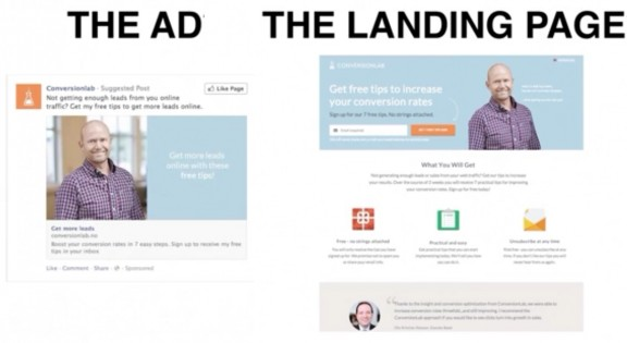 web design landing page ad match