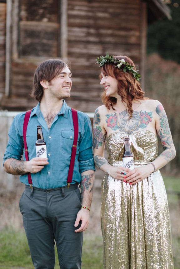 horses a gold wedding dress and a stunning tattooed bride ginny
