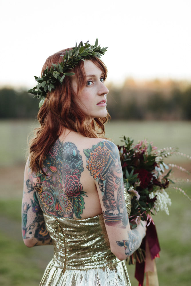 Horses a gold wedding dress and a stunning tattooed bride for Tattoos and wedding dresses