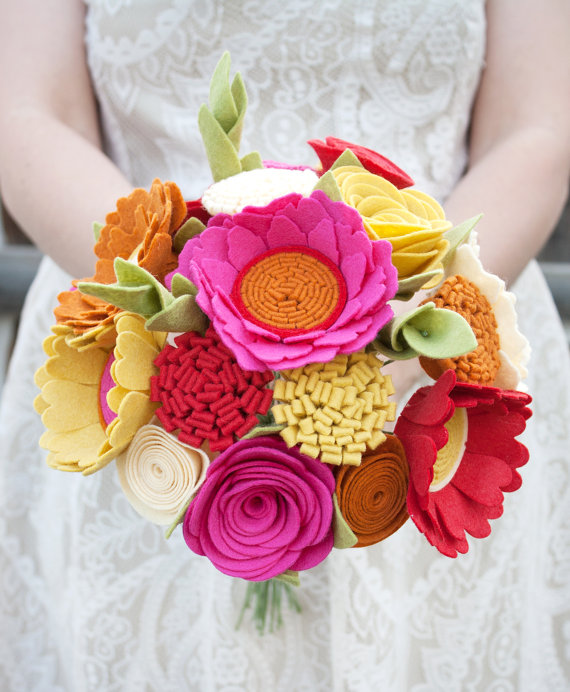 bright felt bouquet