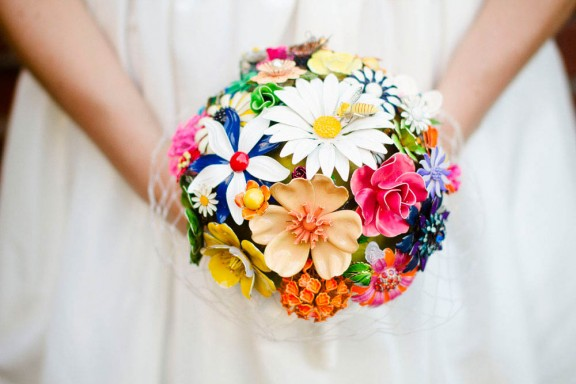 modern rainbow brooch bouquet