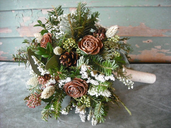 pinecone and evergreen bouquet