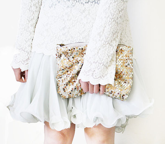 sequinned handbag