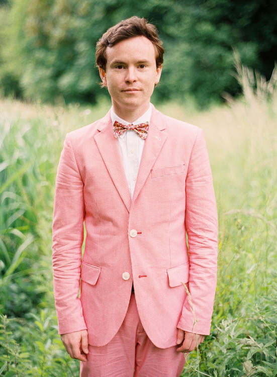 pink grooms suit bow toe