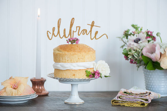 CELEBRATE cake topper in gold, silver or champagne glitter