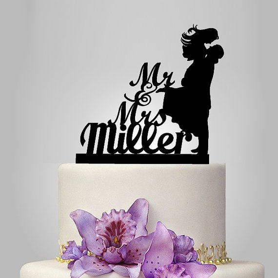 Funny wedding cake topper, monogram cake topper, Mr and Mrs cake topper, groom bride silhouette cake topper, personalize name cake topper