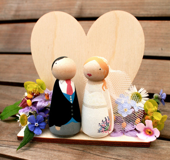 Heart Stand for your Custom Wooden Bride and Groom Wedding Couple Cake Topper