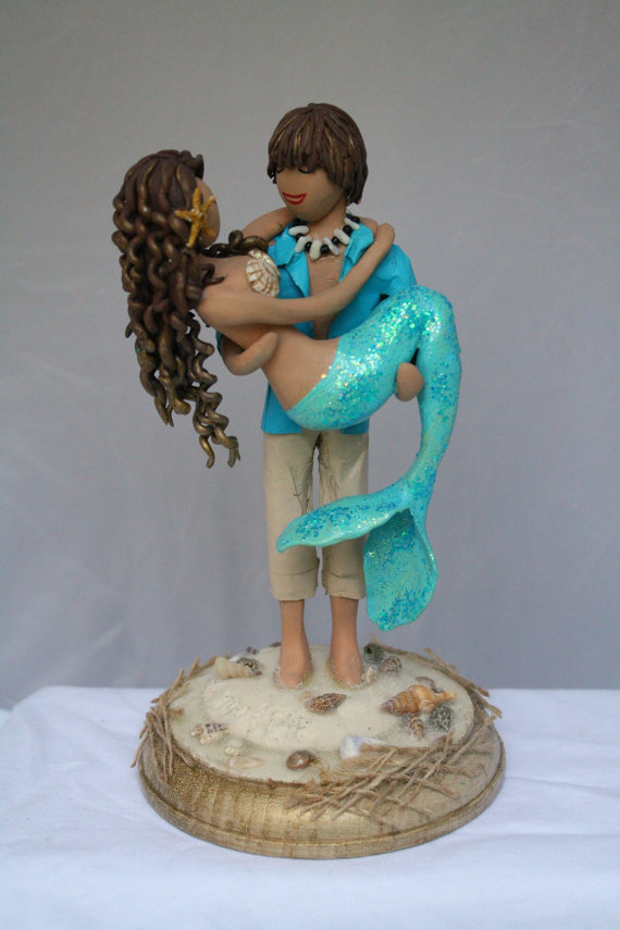 Mermaid bride and Beach boy groom Wedding cake topper customized to your features