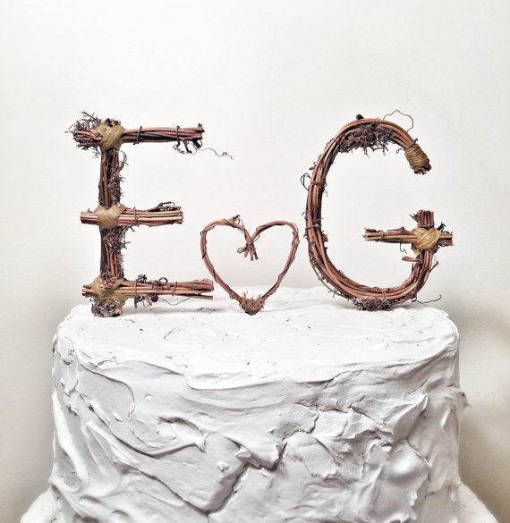 Rustic Monogram Wedding Cake Topper