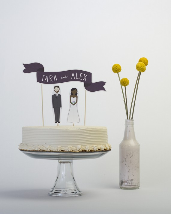 Wedding Cake Topper Set - Custom Cake Banner No. 2 Bride and or Groom Cake Toppers