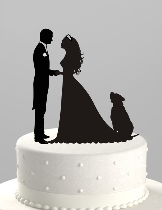 lhouette Groom and Bride with Dog,