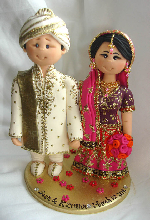 sian Indian Sikh Hindu Pakistani Muslim Bride & Groom Ethnic wedding cake topper