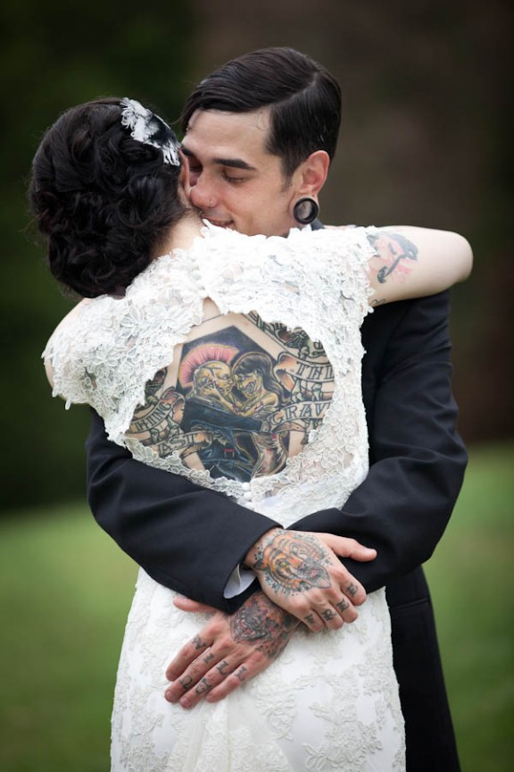 60 utterly beautiful tattooed brides rock n roll bride for Covering tattoos for wedding