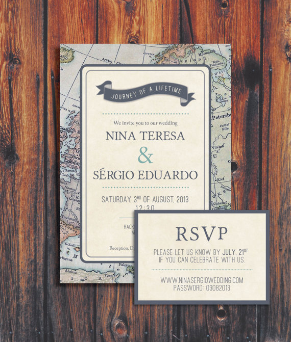 map themed invites