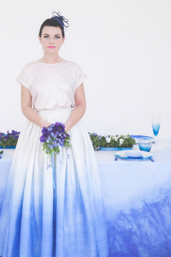 diy dip dyed wedding dress and wedding table2
