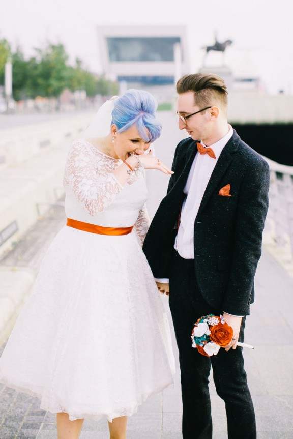 retro rockabilly wedding blue hair bride 43