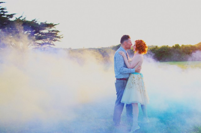 smoke bomb wedding camera hannah