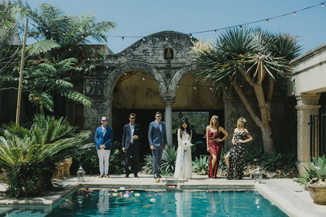 60s poolside wedding