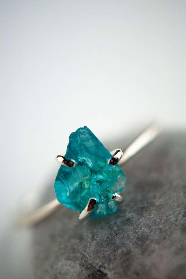 Blue Topaz Wedding Ring 67 Nice Rough cut aqua blue