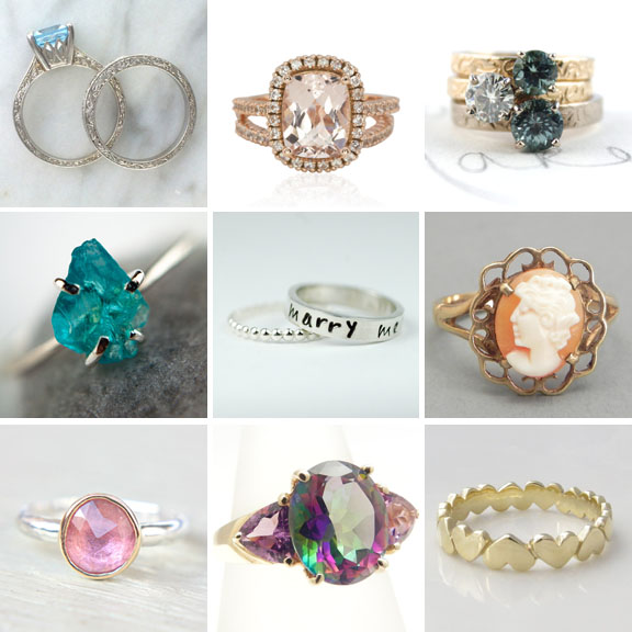 alternative non diamond wedding engagement rings