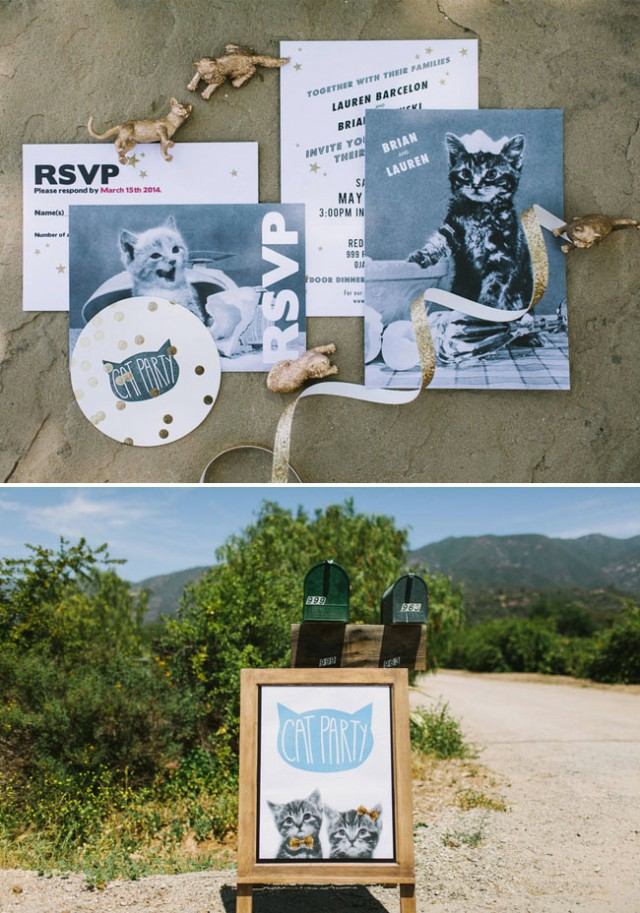 whimsical cat themed wedding