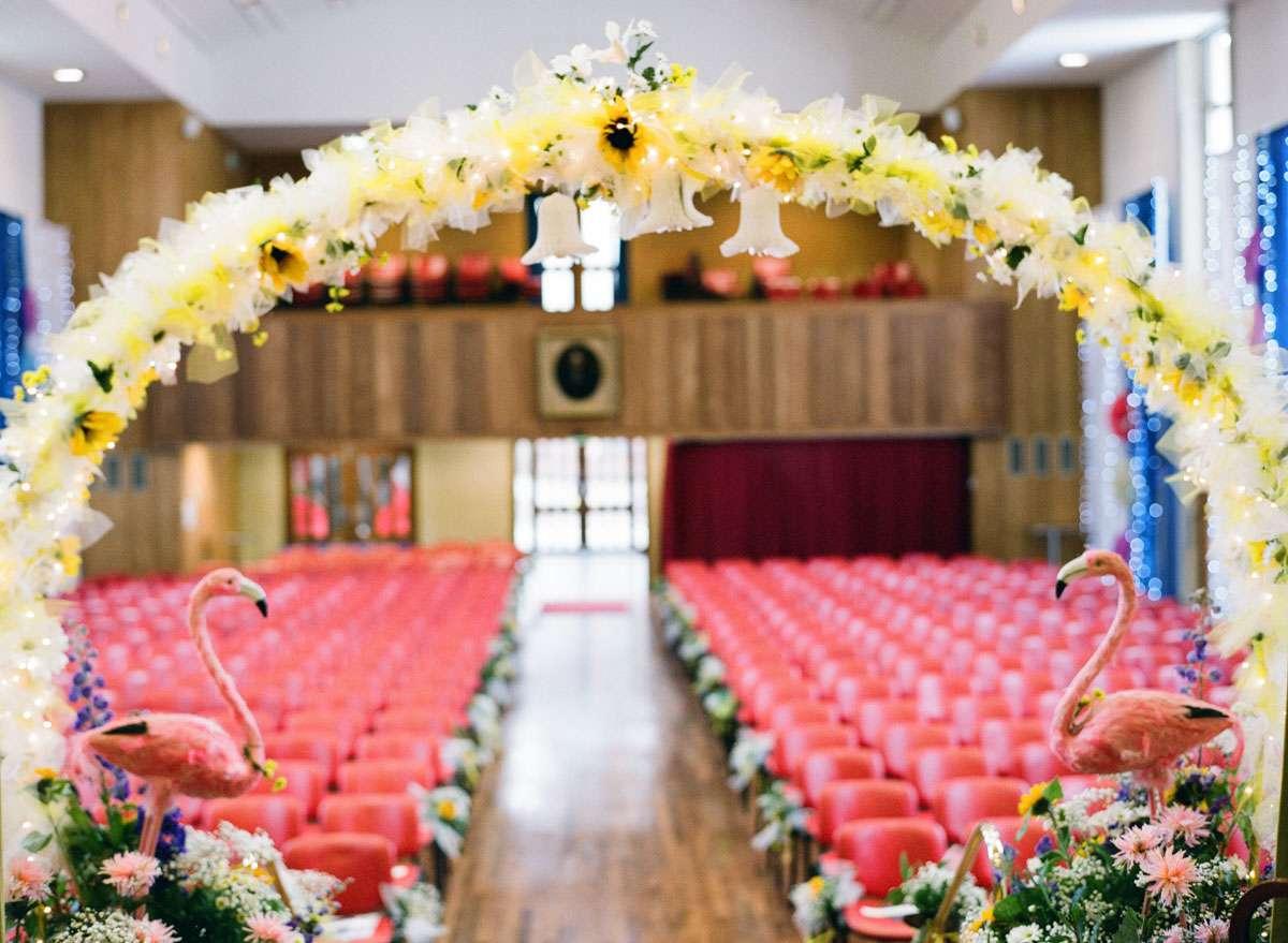 Sunflower Flamingo Themed Retro Wedding Rock N Roll Bride