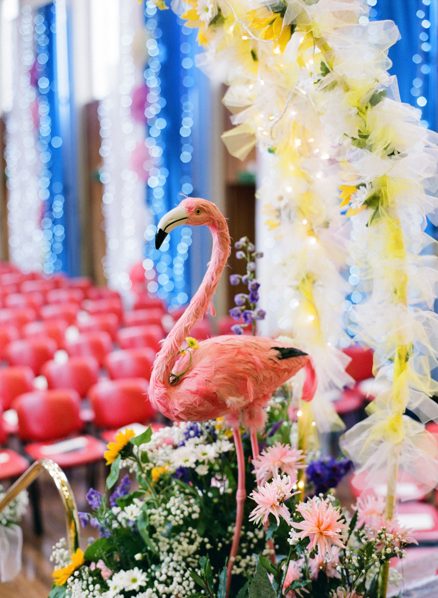 Sunflowers Flamingo Themed Retro Wedding