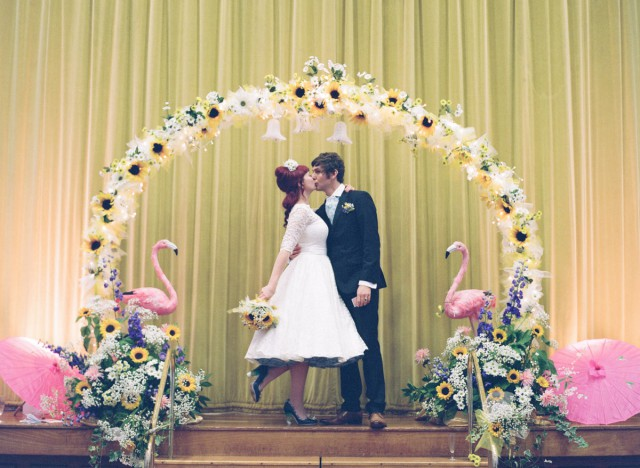 sunflowers &  flamingo themed retro wedding (41)