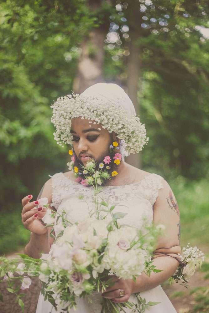Beard girl wedding