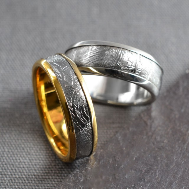 METEORITE RING GOLD AND SILVER 8