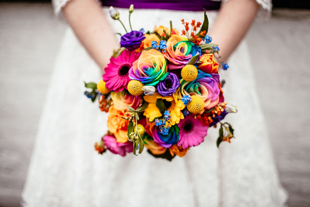 Rainbow rose and pixel themed wedding rock n roll bride for Rainbow dyed roses