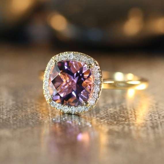 Morganite Wedding Ring Set 95 Superb Purple Amethyst Engagement Ring