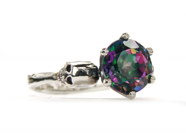 Sterling Goth Skull Engagement Ring Mystic Topaz Silver Ring Green Pink