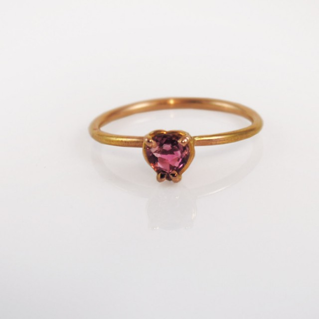 Sweetheart pink rourmaline stacking rin