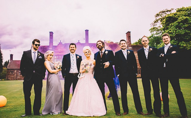 Vinyl Themed, Pink Dress & Beehive Smoke Bomb Wedding-Bridgwood Wedding Photography-289